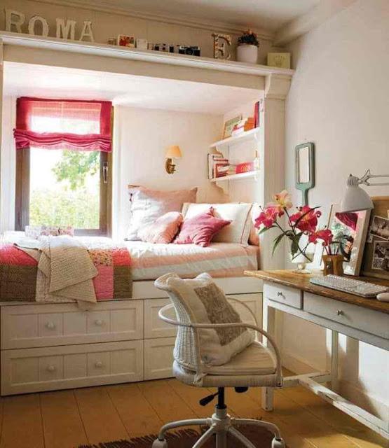 غرف نوم بنات صغيرة الحجم