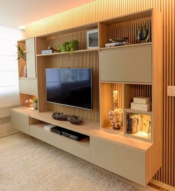 ديكور خشب للتلفزيون البلازما