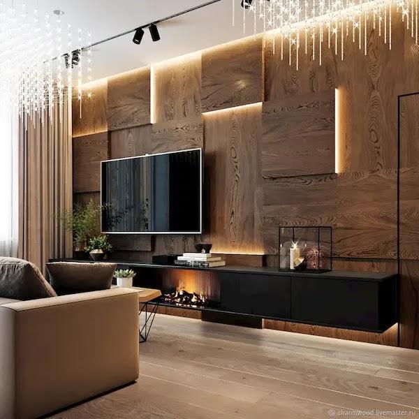 تلبيس ديكور خشب جداري داخلي للتلفزيون