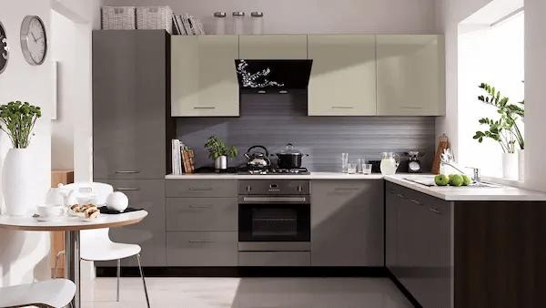 مطبخ لون رمادي