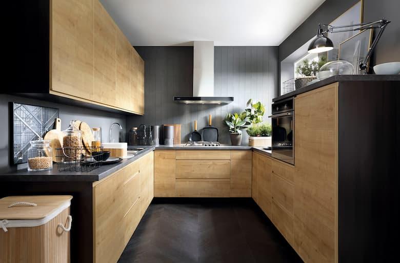 مطبخ خشب رمادي
